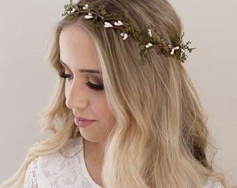 Greenery Crown- Hair Vine- Green Flower Crown- Greenery Halo- Berry Halo- Wedding Headpiece- Wedding Crown- Green Crown- Twig Headband