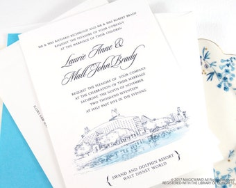 Swan and Dolphin Resort at Disney World Wedding Invitation Package (Sold in Sets of 10 Invitations, RSVP Cards + Envelopes)