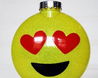 Personalized Emoji Glitter Ornament