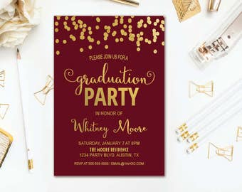 Maroon Graduation Invitation - Confetti Graduation Party Invitation - Printable Invite