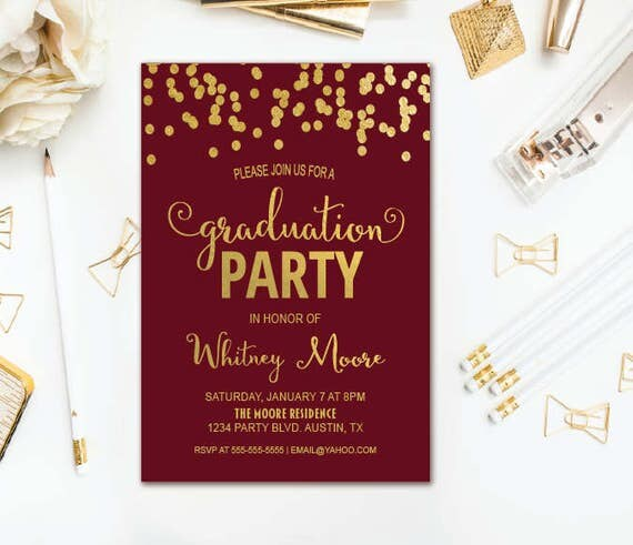 Maroon Graduation Invitation Confetti Graduation Party – Graduation Dinner Invitations