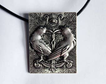 Eye of Odin with Hugin and Munin - Silver Leather Choker Necklace