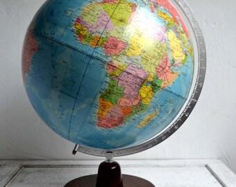Large Vintage French Geographical World Globe Map Desk Office Mid Century Communist Globe Terrestre de RATH 1978