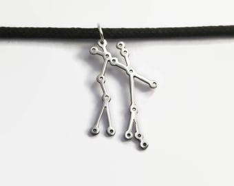 Gemini Constellation Pendant Necklace - Gemini the Twins star sign necklace zodiac & astrology jewelry - May and June Birthday Gift