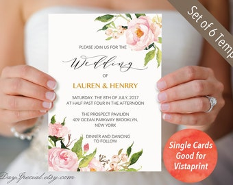4 Double Sided Peony Wedding Invitation Templates, Single Cards Fit  Vistaprint, Printable Floral Wedding