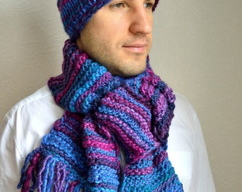 Hand knitted men's scarf & hat set