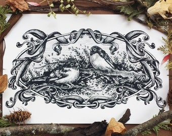 Thornbill Birds, Screenprint | Limited Edition | Natural Cover Stock Paper