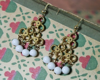 1970s Les Bernard Gold Plated Brass White Bead Chandelier Earrings