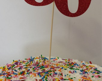 """50th Birthday  Cake   Toppers...50th Anniversary Cake Toppers..SET OF 2----Number"""" 50 """" in Glitter-choose your Color"""