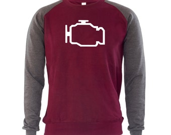 Car Engine Indicator Mens Jumper Sweatshirt Cars Engineer Mechanic Auto Repairs