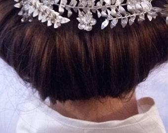 Vintage German Wedding Crown, Bridal Diadem in White  Metal,  Vintage Bridal Tiara, with Buttonhole, Germany 1930s, No. 8