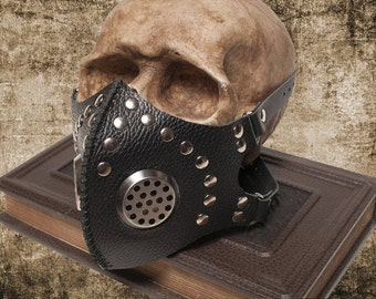 Mask Cyber Goth Post Apocalyptic Leather Mask CyberGoth Gas Mask Black Leather Mask Burning Mask Man Respirator Face Mask Party Mask Cyber