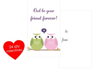 24 Owl Valentines Cards- Kids Mini Valentines Day Cards- Classroom Valentines- Friend Valentines Cards- Owl Be Your Friend Forever- School
