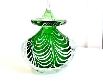 Perfume Bottle, Emerald Green Swirl Art Glass  Fragrance bottle