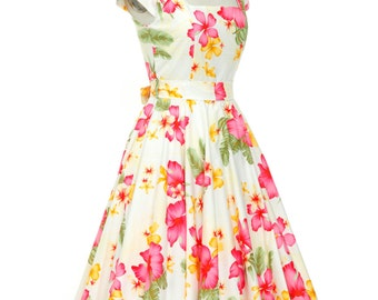 Tropical Dress Pin Up Dress Hawaiian Dress Hibiscus Flower Dress Tiki Dress Vintage Style Dress Holiday Dress Floral Dress Plus Size Dress