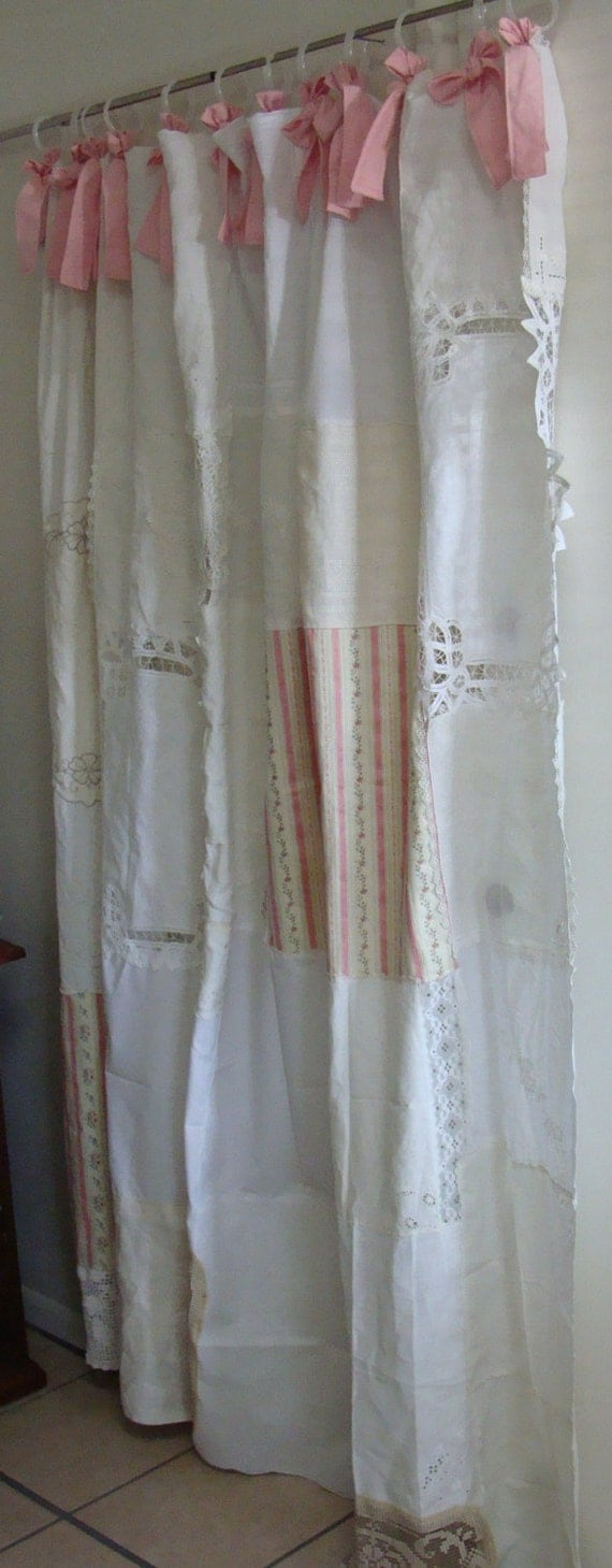 Shabby chic shower curtain vintage napkins vintage for Shabby chic rhinestone shower hooks