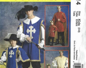 Muskateer, King and Prince costumes pattern with hat, cape, shirt, tabard, boot covers Kids' sizes 3-8 McCalls M5214 UNCUT & FF (2006) K0867