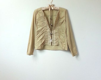 Boho Mexican Embroidered Style, Tan Beige Cotton Jacket, Long Sleeve Blouse, with Button Up Front and Embroidery Motif and Crochet Trim