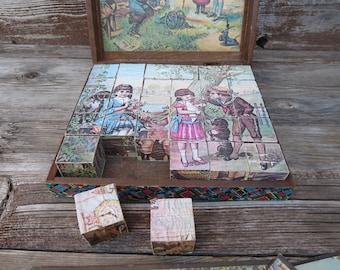 Victorian Block Puzzle - Puzzle Blocks - Victorian Games - 19th Century Toy - Victorian Children - Antique Toy - Antique Puzzle