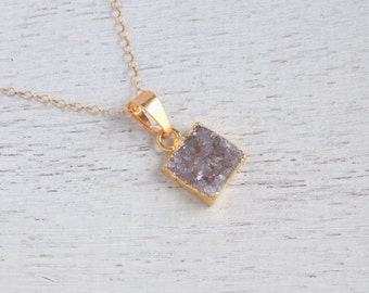 Minimalist Necklace, Druzy Necklace, Gray Druzy Necklace, Natural Drusy, Square Pendant, Gold Layer Necklace, Christmas Gift For Her, R1-73