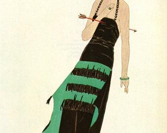 Authentic 1979 Vintage Art Deco Fashion Print Andre Marty Gazette du Bon Ton