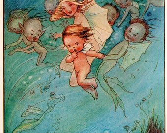 """Rare Original 1920s MABEL LUCIE ATTWELL Vintage Art Print """"The Fairies Take Care of Tom"""""""