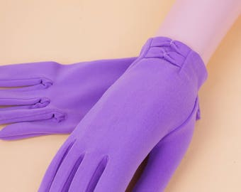Lilac Purple Short 50/60s Gloves // Vintage Party Wedding Occasion Gloves Small S