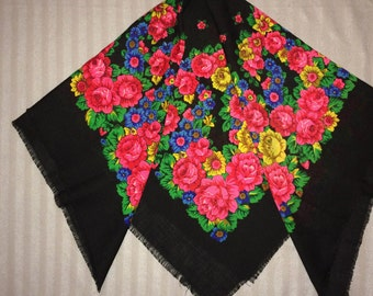 Vintage head black Ukrainian shawl with roses, Russian Floral Scarf gift USSR Babushka Russian style Folk print with flowers boho shawl