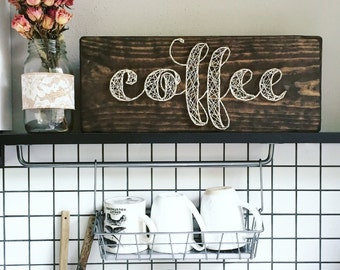 Coffee String Art Mixed Media Wooden Sign