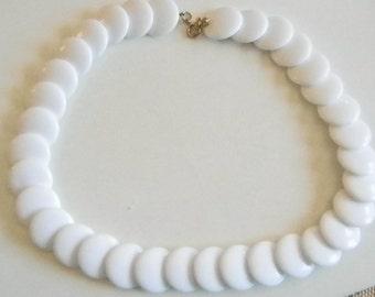 White Round Disc Summer Necklace