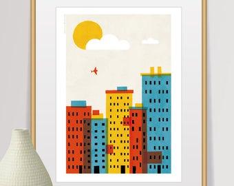 city print, variegated cityscape, mid century modern, nursery decor, nursery wall art, buildings poster, wall decor, home decor, houses