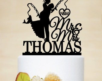 Fishing Cake Topper,Mr & Mrs Cake Topper With Last Name,Wedding Cake Topper,Custom Cake Topper,Hooked on Love,Initials Cake Topper- C169