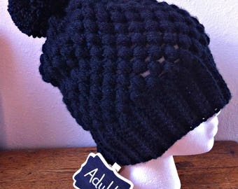 Puff Stitch Hat Black