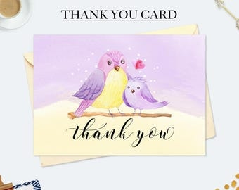 Mothers day card, gift mom, first birthday card, thank you cards baby shower, bird baby invitation, baby birthday decorations, card for her