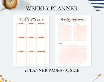 A5 weekly planner inserts, weekly planner 2018, desk accessories for women, gift mom, planner refill, agenda 2018, agenda organizer, print