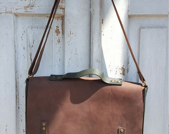 Green leather messenger bag **Free shipping**