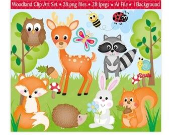 Woodland Animals Clipart,Woodland Clipart,Woodland Animals,Animals Clipart,Clipart,Forest Animals Clipart,Fox,Scrapbooking,Vector,Commercial