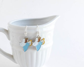 Christmas Earrings, Blue Angel, Gift for Her, Stocking Stuffer, Ready to Ship, Holiday Jewelry, Enamel Charm Earrings