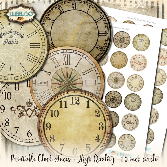 VINTAGE CLOCK 1.5 inch circle printable clock face grunge