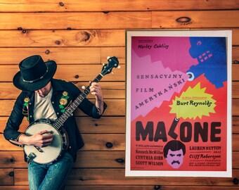 "Malone, movie posters, Polish poster, 27"" x 38"", Burt Reynolds, designed by Jan Mlodozeniec, wall art print, illustration art,  artwork, 80s"