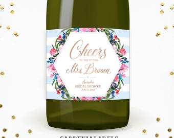Cheers to the Future Mrs Champagne Labels, Bridal Shower Decorations, Custom Miss to Mrs Bachelorette Wine Labels, Bridal Shower Champagne