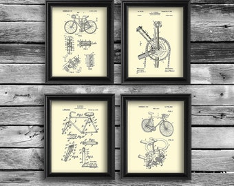 Bike art print set of 4 cream background wall art gift for bicyclist, bicycle gift, valentine gift, bicycle home decor, dorm decor
