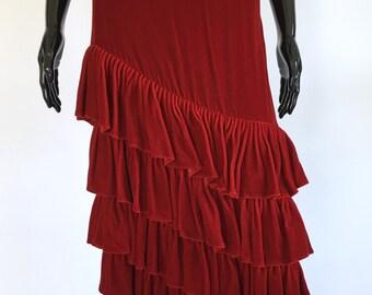 Norma Kamali Vintage Red Velvet Ruffle Skirt