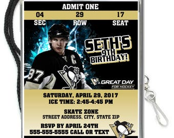 12 PER PACK Birthday Party VIP Lanyard Invitations Pittsburgh Penguins Birthday Hockey Baby Showers Bar Mitzvahs Crosby Murray