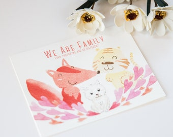 Set of 4 - We're Family Card - Animal Lover - Fox Cat & Tiger