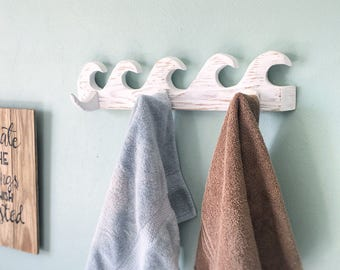 Wave Towel Rack Distressed White Wash Coat Or Key Rack Beach Decor, Hand  Carved,