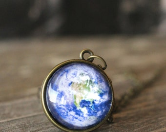 Planet Earth Necklace, Planet Necklace, Solar System, Earth Pendant, Outer Space Jewelry, Galaxy Necklace