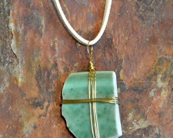 Green Ceramic Broken Porcelain Necklace, Pendant, Gold Wire Wrapped, Jewelry, Handmade Pottery, Upcycled, Recycled,  | Caldwell Pottery
