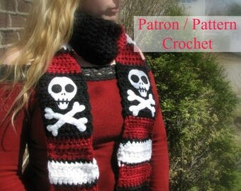 Crochet PATTERN Scarf Pirate black, red and white with a skull design