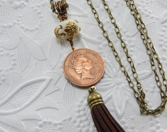 Long leather tassel necklace, Gold British Coin necklace, vintage coin necklace, Queen Elizabeth II coin, Repurposed jewelry, coin jewelry